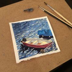 Schmincke watercolours. Arches paper. Boats on Lugano lake