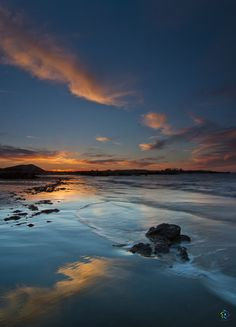 Atardecer en una de las playas más bonitas del Cantábrico: Trengrandin.