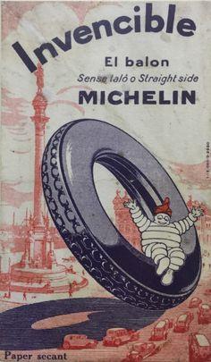 "Bibendum Michelin - catalan advertising, circa Bibendum with ""barretina"" the tipical catalan hat Advertising History, Retro Advertising, Vintage Advertisements, Vintage Ads, Vintage Posters, Bike Poster, Poster Ads, Car Posters, Michelin Man"
