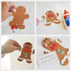 This is a great Christmas craft. You can purchase these items at the dollar store. All you need is gingerbread cut outs. There are many different things you can use, like glitter, googly eyes, buttons. ect..