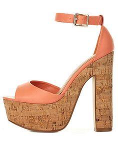 Cork Platform Chunky Heel Sandals: Charlotte Russe