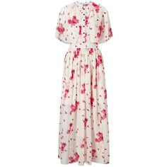 Somerset by Alice Temperley Blossom Print Maxi Dress, Pink ($285) ❤ liked on Polyvore featuring dresses, lace midi dress, short-sleeve dresses, short sleeve dress, lace dress and short sleeve maxi dress