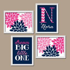 Navy Pink Nursery Wall Art CANVAS Nursery Decor Girl by TRMdesign