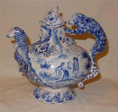 Unusual 18th Century Dutch Delft Teapot