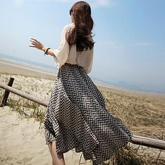 WeiMeiJia Women's Geometry Stripe Chiffon Skirt - USD $ 20.99