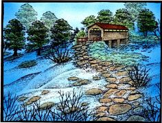 Stampscapes covered bridge by Karen Wallace - Cards and Paper Crafts at Splitcoaststampers