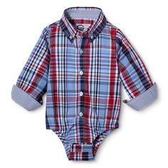 G-Cutee® Newborn Boys' Long-Sleeve Plaid Button Down Shirtzie™ - Blue/Red