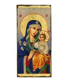Virgin Mary Eternal Bloom - Seriograph icon crafted in canvas with colored background on aged natural wood. Russian Icons, Byzantine Icons, Client Gifts, White Lilies, Virgin Mary, Natural Wood, Christianity, Bloom, Canvas
