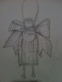 Christmas angel in pencil By Jeanne Tyrrell