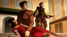 Opal, Bolin, and Lin.  Legend of Korra 4.12 Day of the Colossus