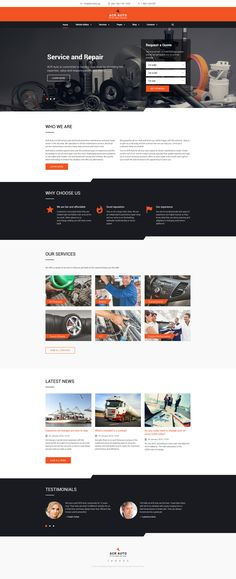 Your auto services website need a fix? Try this car repair website template with various pre-packed HTML pages and footer and header layouts. Car Repair Service, Auto Service, Mise En Page Web, Design Autos, Car Fix, Web Design Software, Online Shopping Websites, Le Web, Site Internet