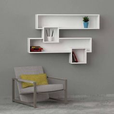white & walnut modern shelving,bookcase design shelving/storage contemporary living room furniture,unique in design. Wall Shelving Units, Wall Shelves Design, Modern Shelving, Wall Shelves For Books, Library Bookshelves, Shelf Wall, Wood Box Design, Home Library Rooms, Diy Home Decor