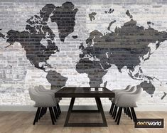 Wallpaper world map outline faded on brick wall. Industrial style home / office decor World Map Outline, Home Office Decor, Home Decor, Office Walls, Brick Wall, Industrial Style, Maps, Dining Table, Wallpaper