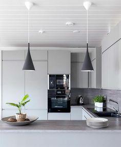 plantas de decoración, lámparas colgantes, balsa gris, diseño moderno, cocina rústica