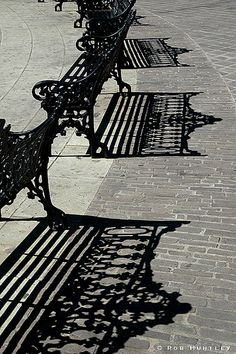 Black and white photo Park Bench Shadows