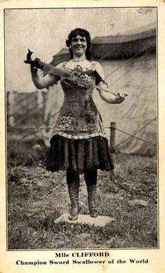 "Clifford began swallowing swords in 1899 at the age of 13 after learning from sword swallower Delno Fritz. Clifford performed under the name ""Mlle. Edith Clifford, Champion Sword Swallower of the World"" and was said to have swallowed 18 to 20 inch blades without a problem. Joined Barnum & Bailey Circus in Vienna Austria in 1901, where Clifford became famous for swallowing razor blades, scissors, saw blades and bayonets. They worked with the Barnum Show for five years from 1901 through 1906."