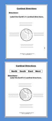 Free Simple Cardinal Direction Worksheets (with and without Word Box)