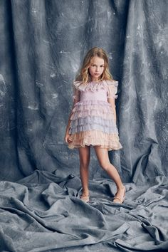 Girls Basket Weave Lace Trim Bow Gem Brooch Long Sleeve Dress 2 to 12 Years
