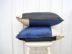 Leather Pillows  Decorative Genuine Leather Pillow by woolpleasure