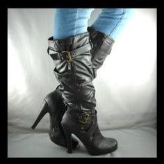28ee00fd4119 New gray platform knee high heel slouch boots size 8