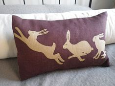 hand printed triptyque hare cushion cover by helkatdesign