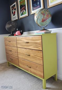 Paint your tarva dresser to green and wooden colour. ------- IKEA Hackers: Tarva to Midcentury Modern Dresser Ikea Loft, Ikea Tarva Dresser, Dresser As Nightstand, Dresser Ideas, Ikea Hacks, Painted Furniture, Diy Furniture, Painted Dressers, Mid Century Modern Dresser