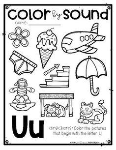 FREEBIE Color by Sound Beginning Sounds by Education and Inspiration Preschool Writing, Preschool Letters, Preschool Curriculum, Preschool Learning, Kindergarten Worksheets, Preschool Activities, Worksheets For Kids, Kindergarten Reading, Learning Tools