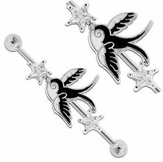 Black & White Dove Swallow sparrow bird w/ 2 clear cz Star Star's symbol of peace Surgical Steel Industrial Barbell bar body jewelry piercing ring Earring 32mm & 35mm & 38mm 14g 14 gauge playful piercings. $12.00