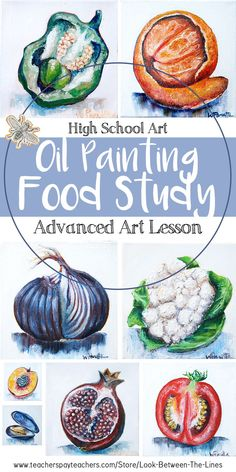 This advanced high school art lesson focuses on using oil paint to create hyper realistic food studies. It's perfect for advanced level art or AP art. high school Advanced High School Art or AP Art: Hyper Realistic Food Study Oil Painting Art Education Projects, High School Art Projects, Art Projects For Teens, Toddler Art Projects, Painting Courses, Painting Lessons, Art Lessons, Middle School Art, Art School