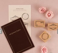 another guest book idea ---  This unique guest book is ideal for travel enthusiasts or weddings with guests traveling from around the globe. Your guests will get a kick out of stamping your 'passport' with one of three stamp designs and writing a special message or piece of marriage advice for you to enjoy. W 6 1/2'' x H 9 1/2'' &bull%3...