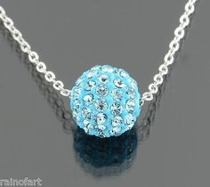 Blue Ball Pendant Necklace Made W SWAROVSKI CRYSTAL Dainty Jewelry - http://elegant.designerjewelrygalleria.com/swarovski/blue-ball-pendant-necklace-made-w-swarovski-crystal-dainty-jewelry/