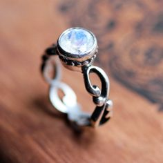 Moonstone solitaire ring - bezel - rainbow - recycled sterling silver - renaissance filigree - made to order - Wrought ring on Etsy, $170.00