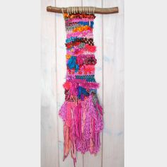 Festive Woven Wall Hanging with Reclaimed Sari Silk Ribbon, Colorful Woven Wall Hanging, Fuchsia Pink Wall Hanging, Bright Fun Wall Hanging by fishwarp on Etsy https://www.etsy.com/listing/255701611/festive-woven-wall-hanging-with