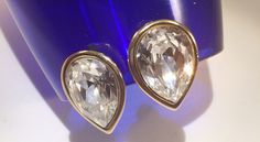 New to VintageVybe on Etsy: Vintage Cubic Zirconia Gold Earrings Tear Drop Pear CZ Clip On Costume Jewelry (25.00 USD)
