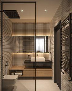 Tiny Apartment - small apartment interior design by Bezmirno Interior Design Work, Bathroom Interior Design, Home Interior, Small Apartment Interior Design, Bathroom Design Small, Modern Bathroom, Bathroom Ideas, Bathroom Organization, Small Bathroom Floor Plans