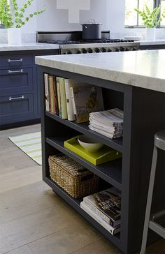 Functional island space...no wasting counter space for cookbooks, etc!