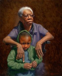 In Good Hands by Carol Lee Thompson, Oil on Canvas African American Artist, American Artists, Art Through The Ages, My Black Is Beautiful, Beautiful Artwork, Black Artwork, Brown Art, Tropical Art, Heart Art
