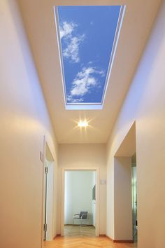 This stunning LED skylight from Sky Factory transforms interior hallways and other interior spaces into pleasant through ways by providi… Sky Ceiling, Ceiling Murals, Open Ceiling, Wallpaper Ceiling, Home Wallpaper, Roof Skylight, Faux Window, Hospital Design, False Ceiling Design