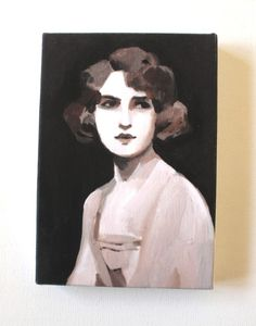 vintage lady tiny canvas print