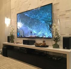 Beautiful living with 66 inch tv