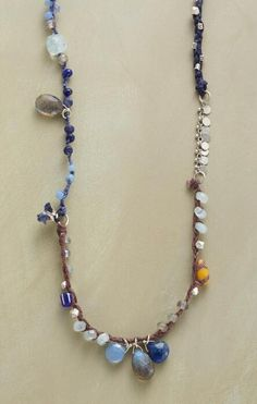Our exclusive mixed gemstone necklace brings out all the hues of an evening sky.