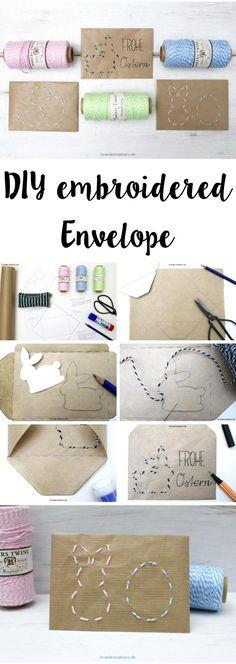 DIY embroidered Envelope with Easter Motives   DIY bestickter Briefumschlag mit Ostermotiven