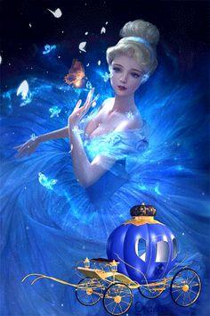 bare_shoulders blonde_hair blue blue_dress blue_eyes breasts butterfly cinderella cinderella_(disney) cleavage crystal dainegikun dress eyelashes frills gem glitter glowing gown hair_up hairband… Disney Dream, Disney Love, Disney Magic, Cinderella Disney, Cinderella Cartoon, Disney Fan Art, Disneyland, Disney Kunst, Fantasy Kunst