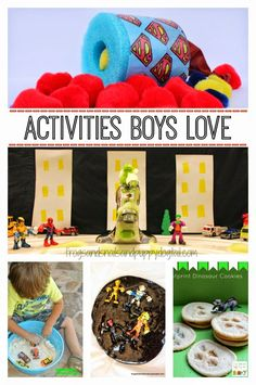 Activities Boys Love - crafts, sensory play, snacks, art and more.