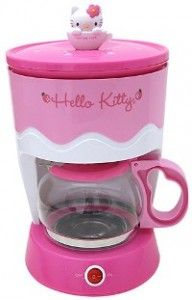 Hello Kitty coffee maker. See other Hello Kitty kitchen appliances here: http://www.hellokittyforever.com/2011/09/hello-kitty-kitchen-appliances.html #hellokitty #food #kitchen