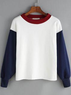White Blue Contrast Collar Crop Sweatshirt Mobile Site