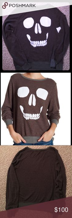 NEW WILDFOX SKULL FACE JUMPER SIZE XS Gray Brown NEW WILDFOX SKULL FACE JUMPER SIZE XS Gray Brown Wildfox Tops