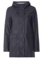 Womens Navy Stripe Lined Raincoat- Blue