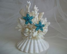 Beach Theme Wedding Cake Topper Jeweled Starfish Seashell Cake Topper Starfish Seashell Decor Turquoise Teal Blue Starfish Cake Topper by SeashellBeachDesigns on Etsy Beach Themed Crafts, Sea Crafts, Seashell Crafts, Starfish Cake, Seashell Cake, Seashell Wedding, Themed Wedding Cakes, Themed Cakes, Wedding Cake Toppers