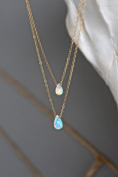 STYLE|LayeredchainsSTONE|Tear drop Ethiopian Opals - Grade AAA QualityFINISH| 14k goldfill, 14k rose gold fill, sterling silver delicate chainLENGTH | 15